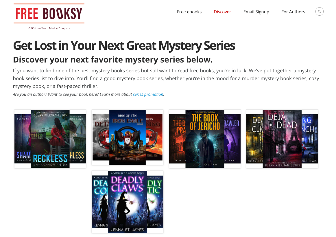 Example of Series Discovery section on Website