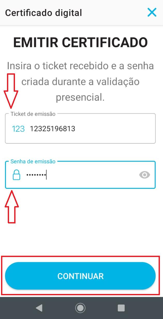 VIDaaS  Adicionando um ticket de certificado em nuvem Valid ao app VIDaaS