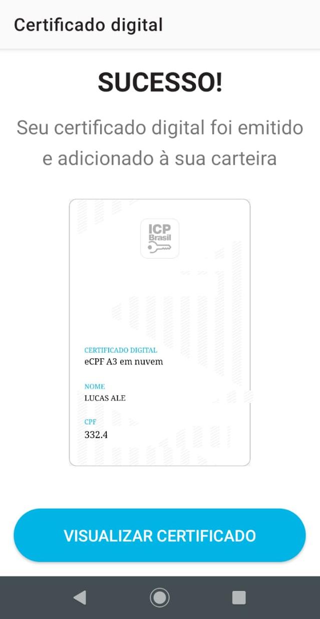 VIDaaS  Sucesso! certificado em nuvem Valid instalado no app VIDaaS