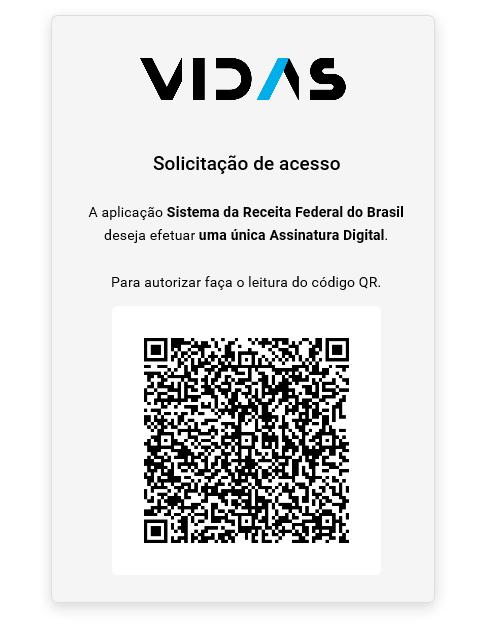 Tela de exemplo de autenticação do VIDaaS