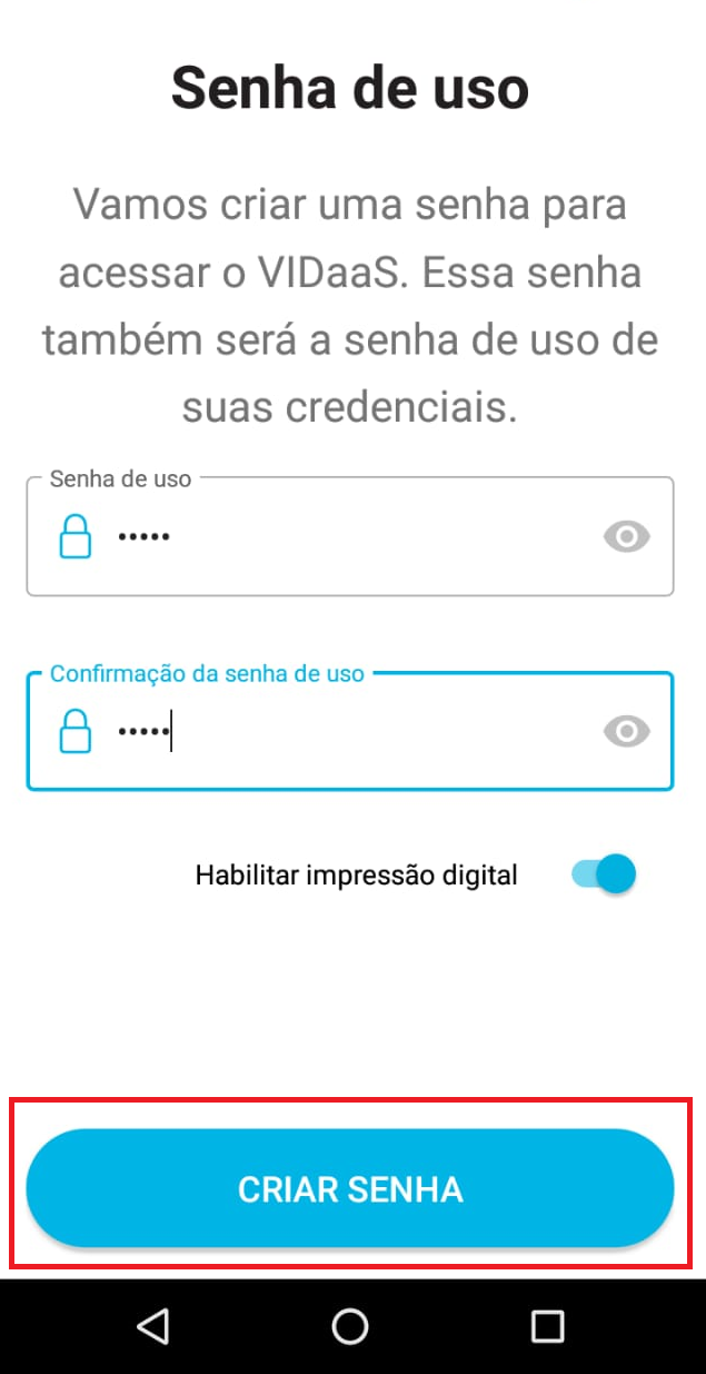 VIDaaS - Tela de Configuração de senha da carteira de documentos
