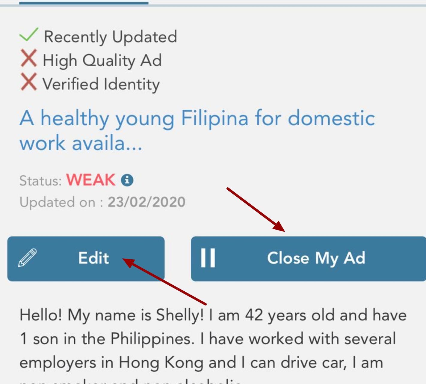 click close my ad