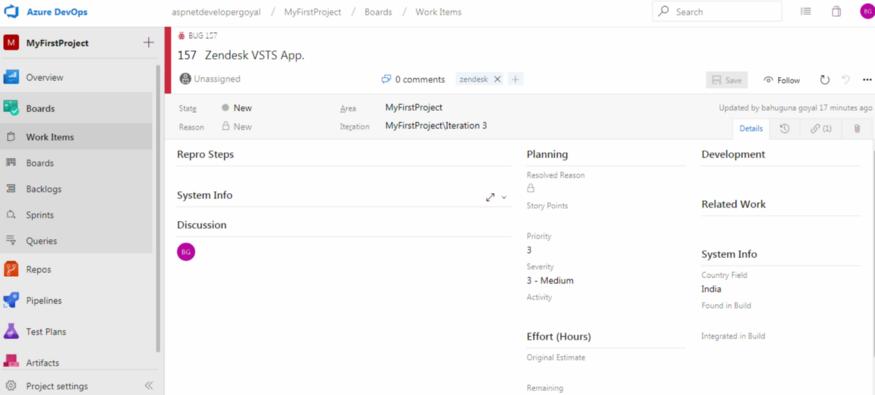 Zendesk Visual studio AzureDevops