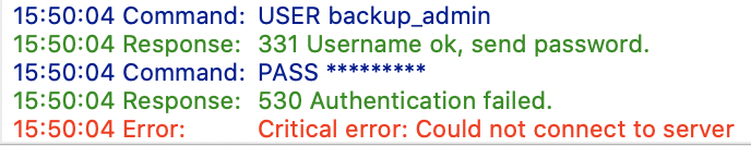 S/FTP Error 530 Authentication failed. Critical error. Could not connect to server.