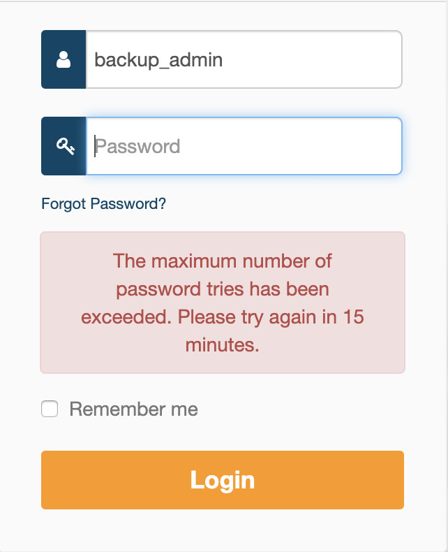 The maximum number of password tries has been exceeded. Please try again in 15 minutes.