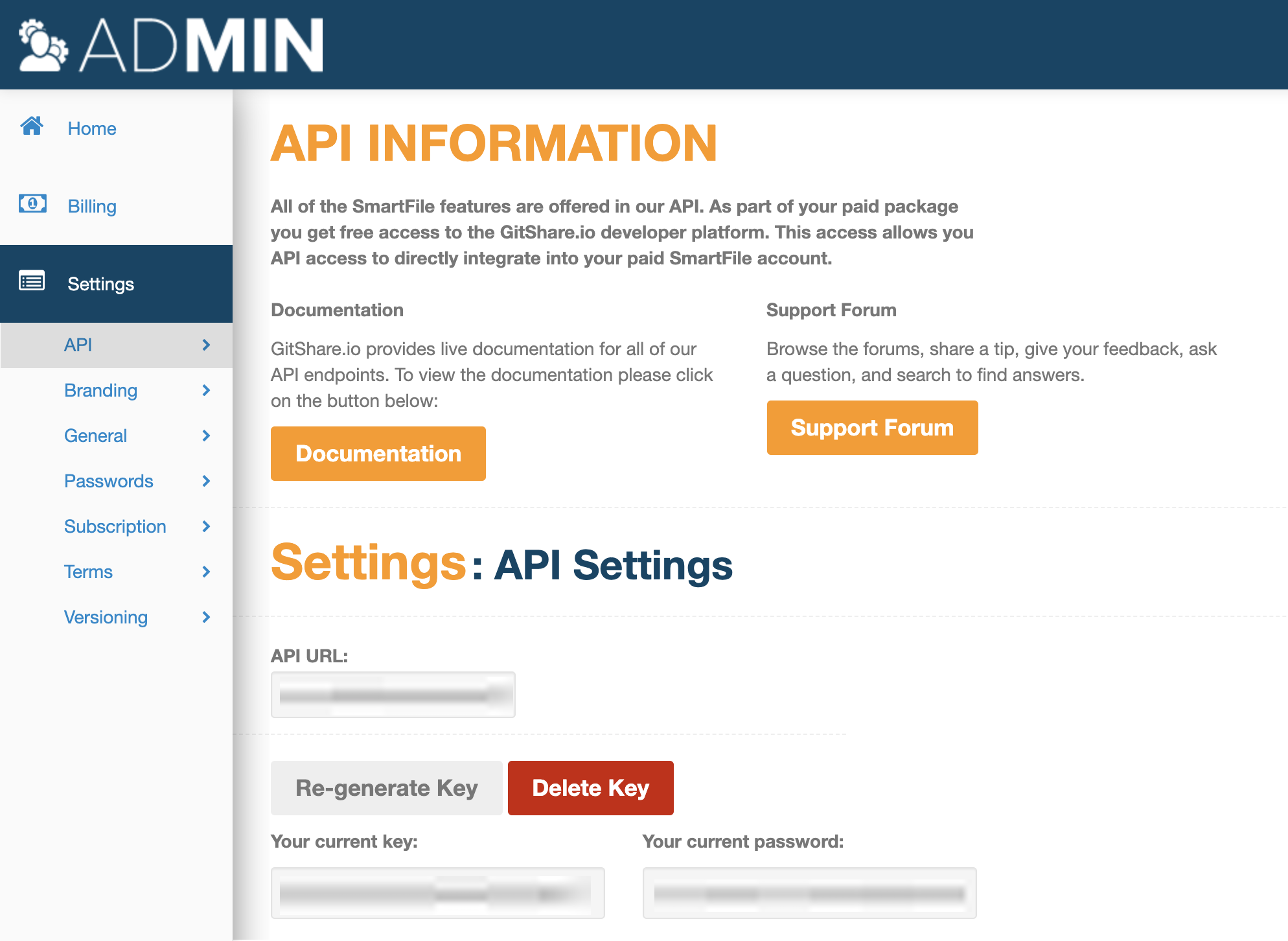 API key and password in site settings