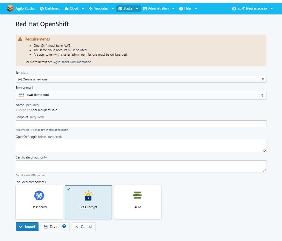 Import Red Hat OpenShift Cluster