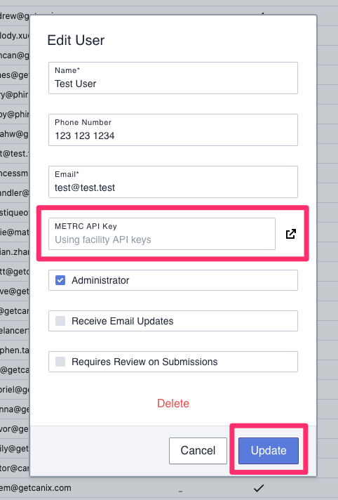 Edit User API Key