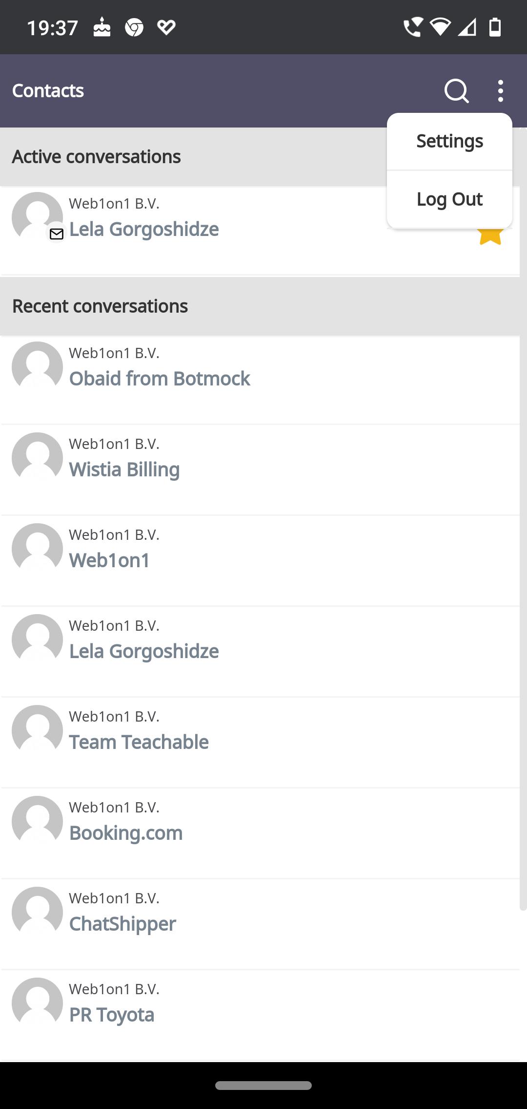 ChatShipper mobile App settings