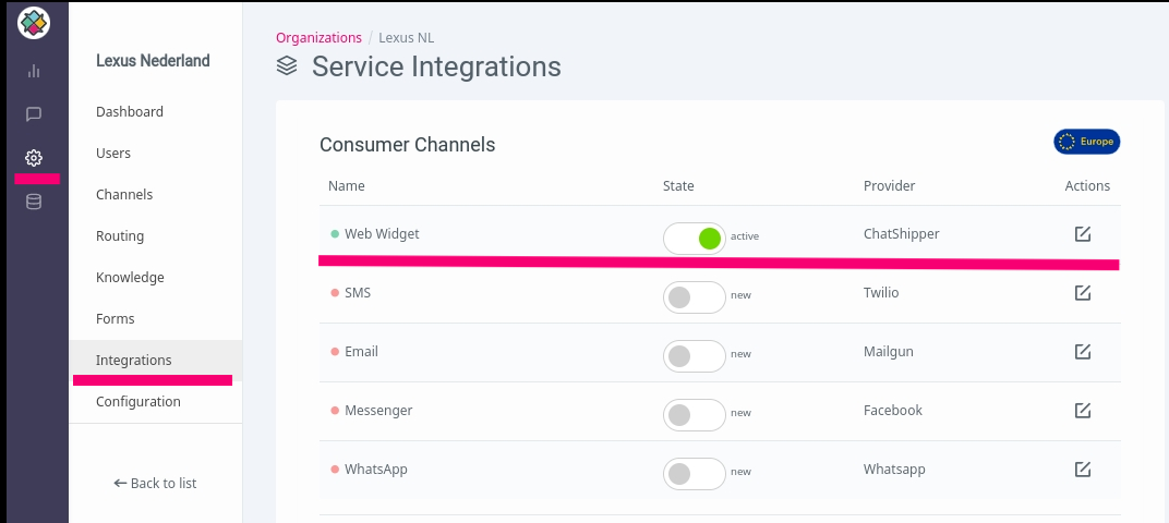 Adding Webwidget integration to ChatShipper
