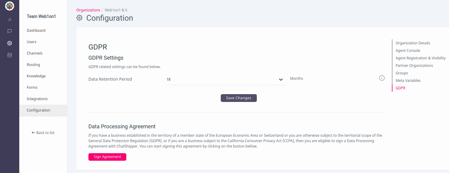 ChatShipper GDPR Section with DPA