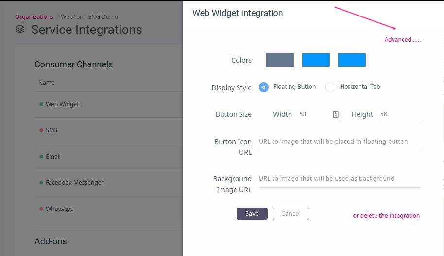 ChatShipper Webwidet advanced settings