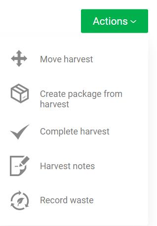 Cultivation Harvest Action Menu