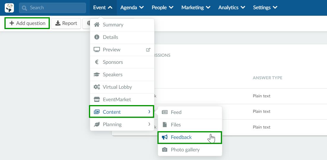 Screenshot event > content > feedback