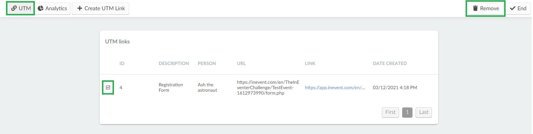 How do I remove a UTM link