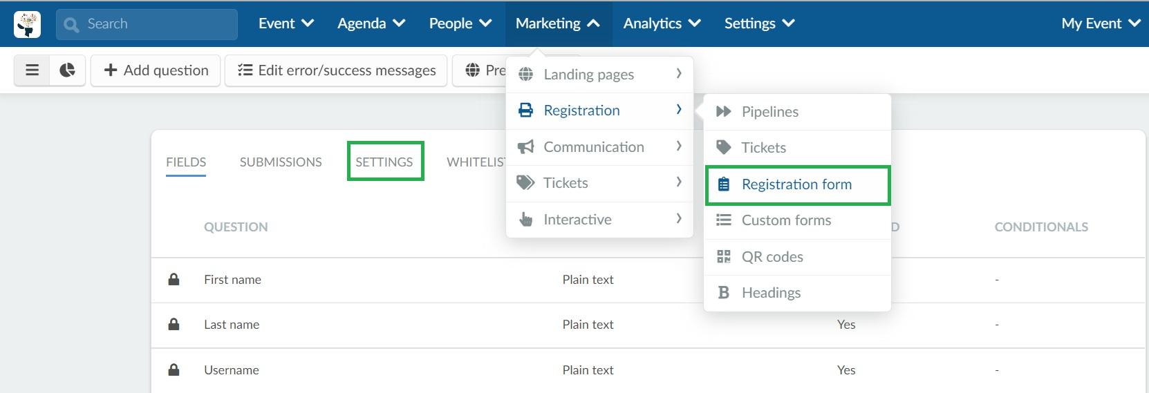 Registration form settings