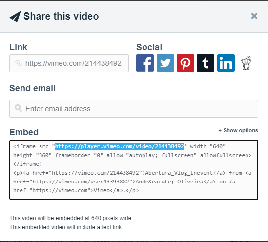Vimeo share with embed link highligted