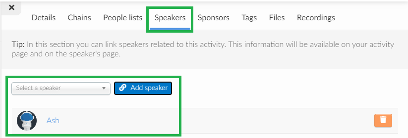 screenshot agenda > activities > speakers