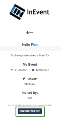 Screenshot of the ticket acceptance email message.