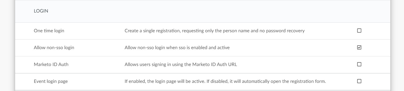 Login section on the event tools page