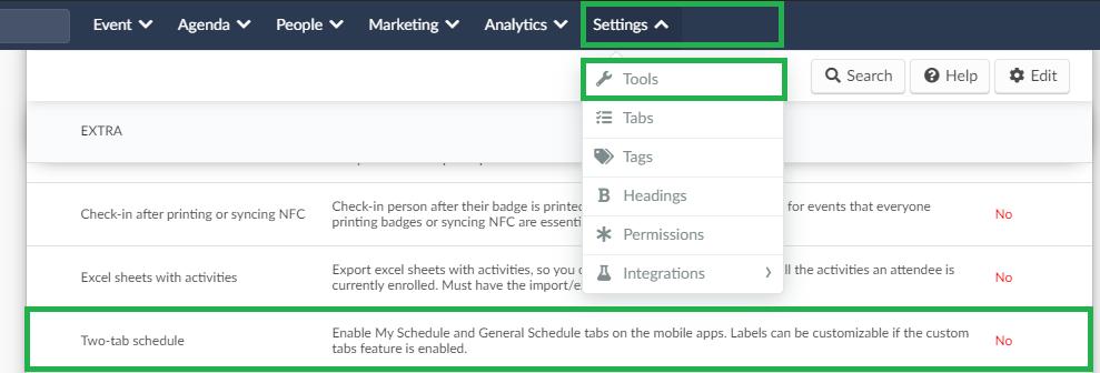 Screenshot of settings>tools>two tab schedule