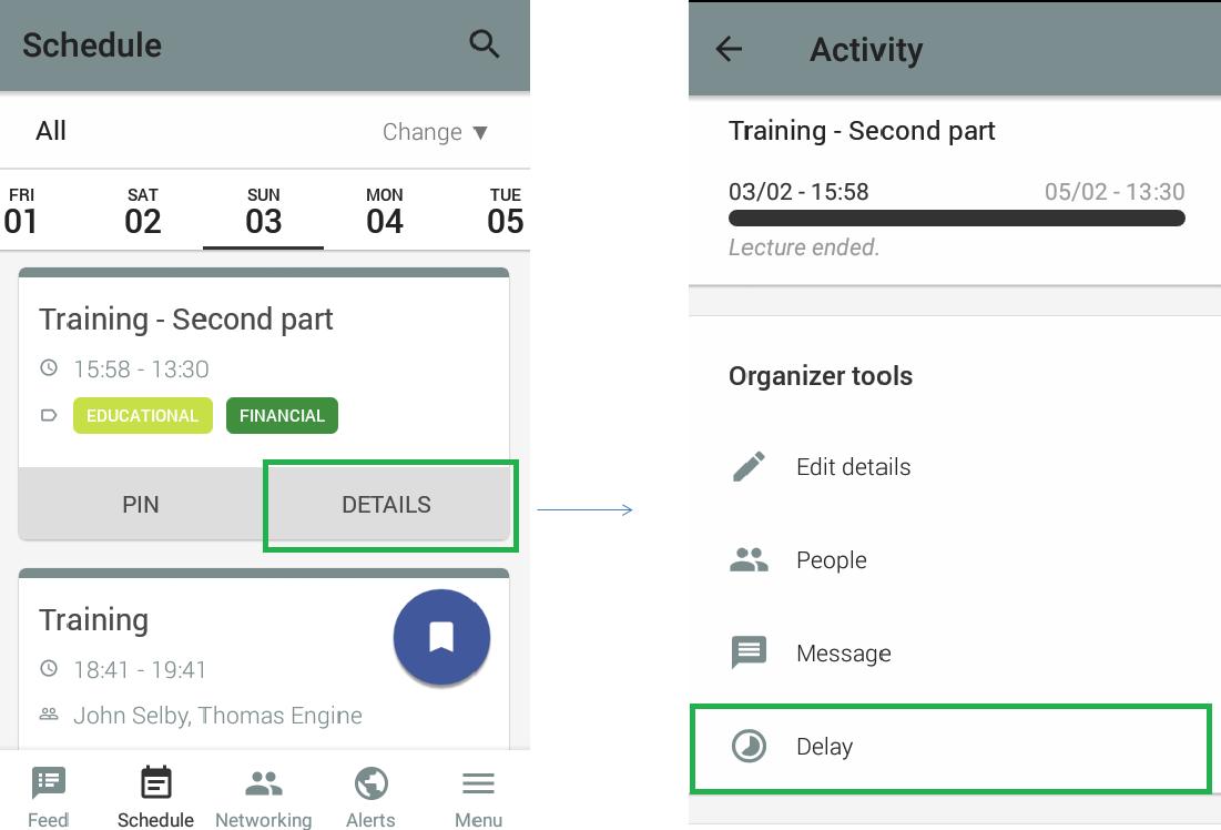 Screenshot of agenda>details on the app