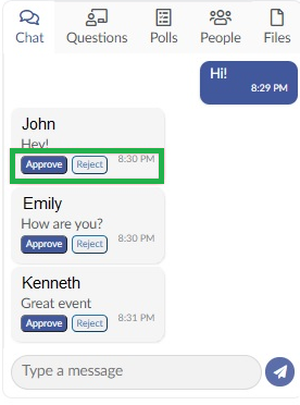 Screenshot chat approval