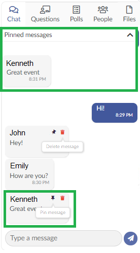 Screenshot pinned chat