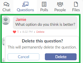 Screenshot deleting questions