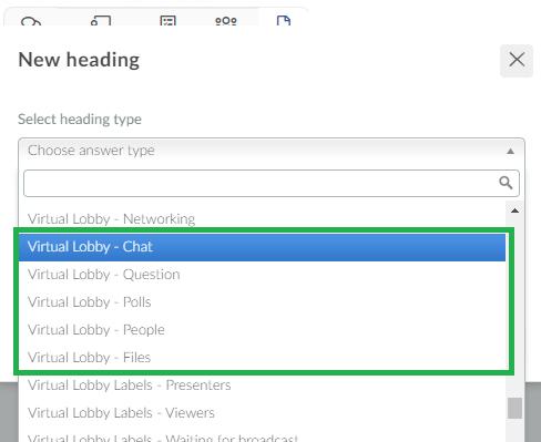 Virtual lobby headings