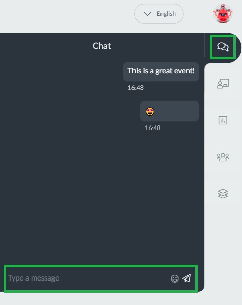 Screenshot of the chat feature