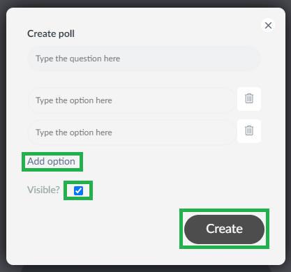creating a poll in the virtual lobby