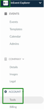 Screenshot of the steps Company Level  >  Account  > Tools