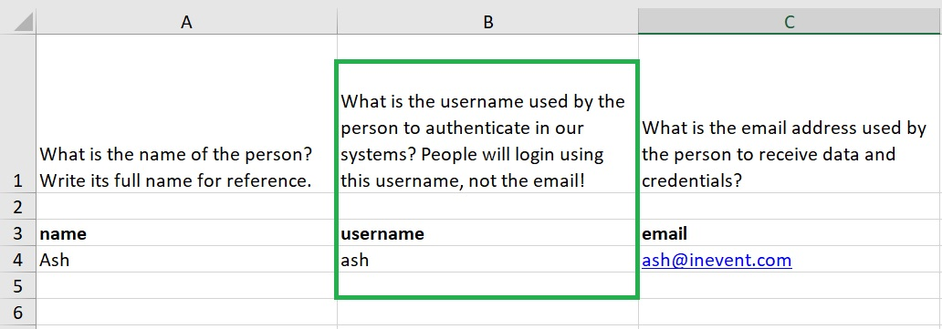 Importing attendees with usernames