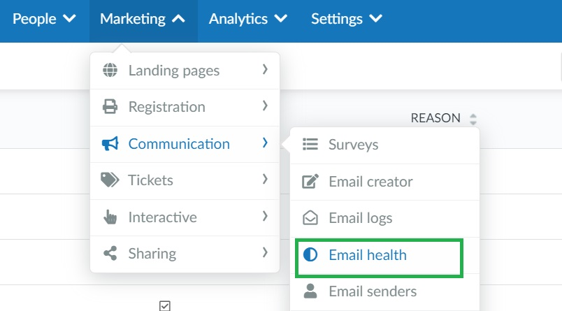 How to access the email health page on the event level