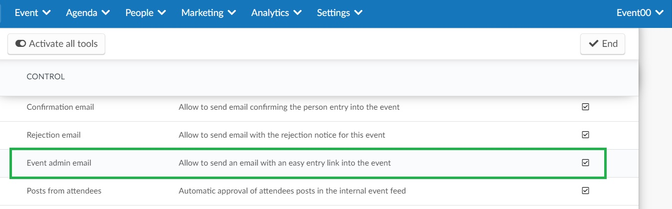 Enabling the event admin email