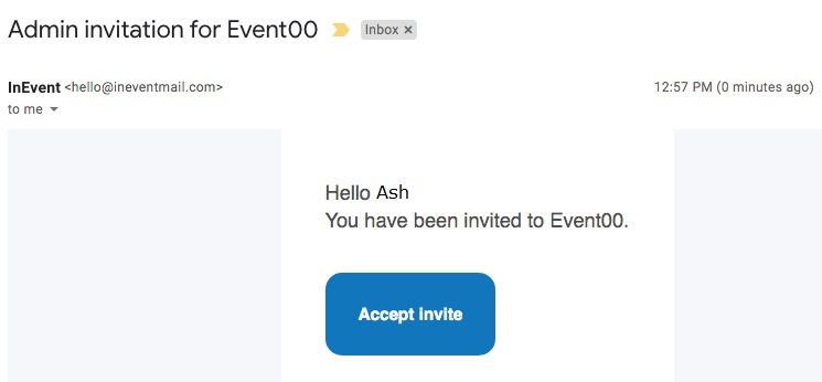 Invite email for event admins