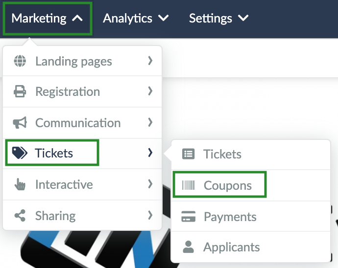 Screenshot of steps Marketing > Tickets > Coupons
