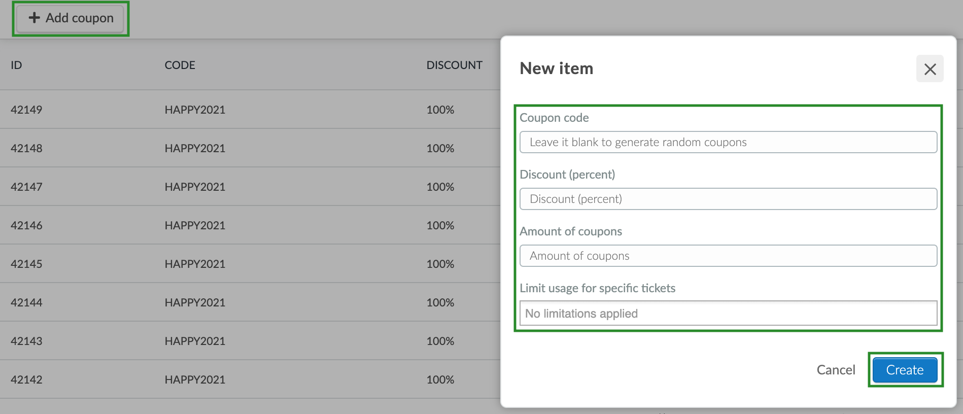 Screenshot of steps to add a new coupon