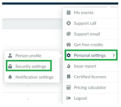 Personal settings > Security settings