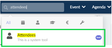 Image showing the search tool and the word 'attendee'.