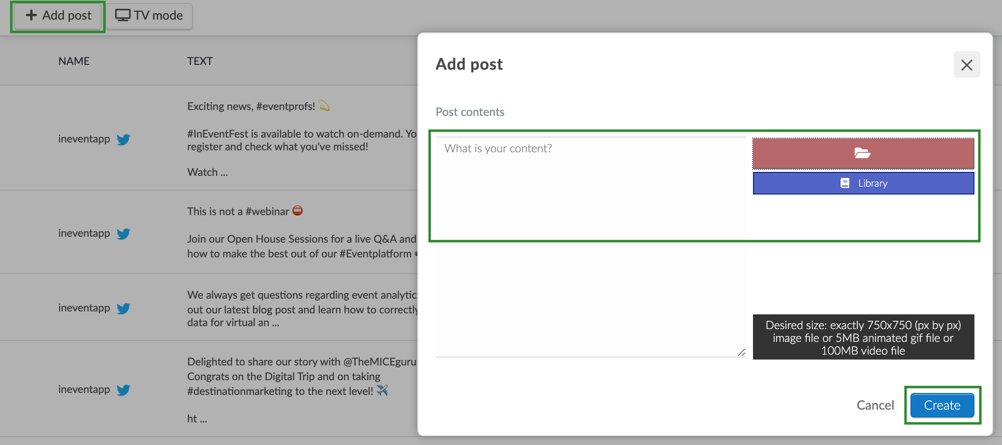 Screenshot of how to add a new post to the feed