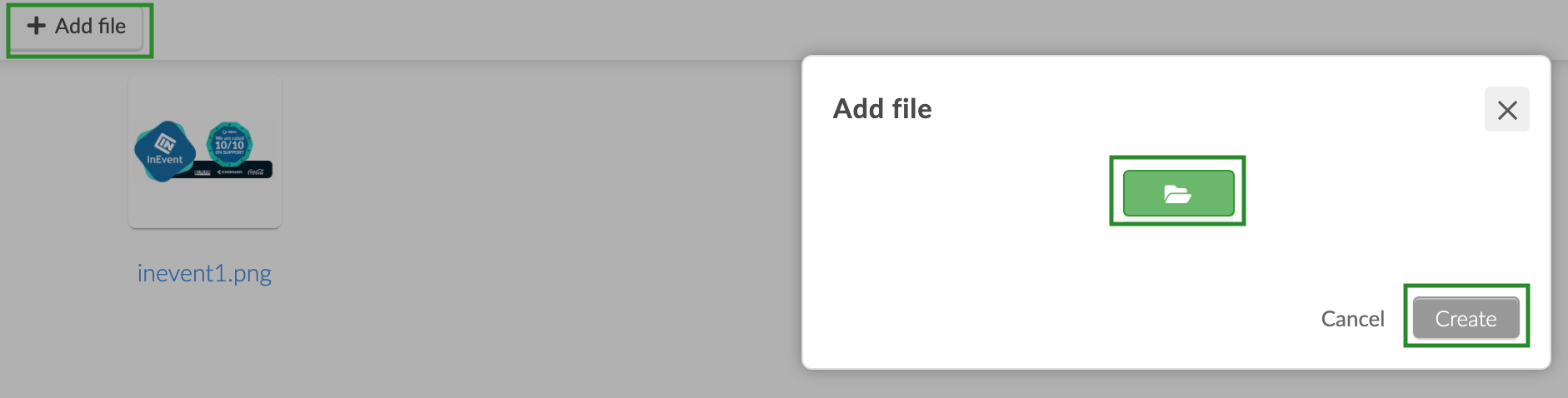 Screenshot of the steps to add a new file