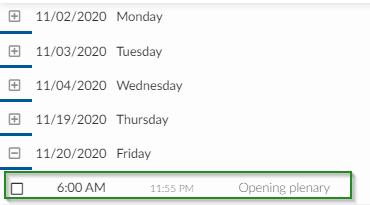 Screenshot of steps Agenda > Activities