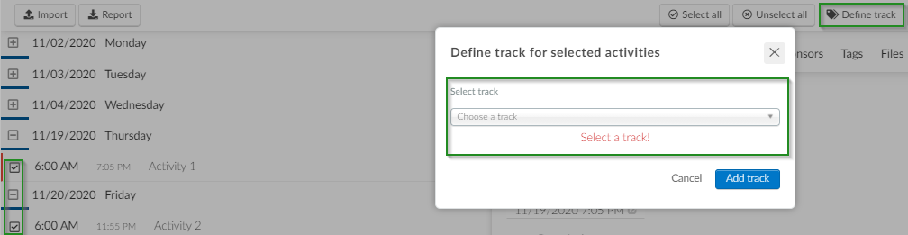 Screenshot of steps to  Define Track>add track