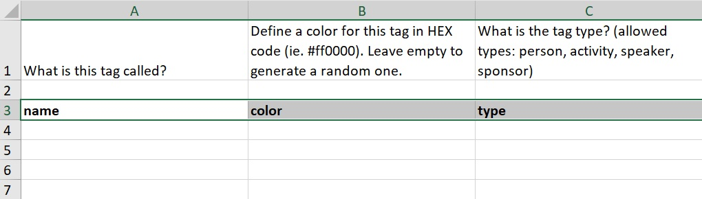 Importing tags on spreadsheets