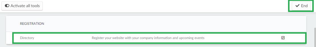 Screenshot account > tools > directory