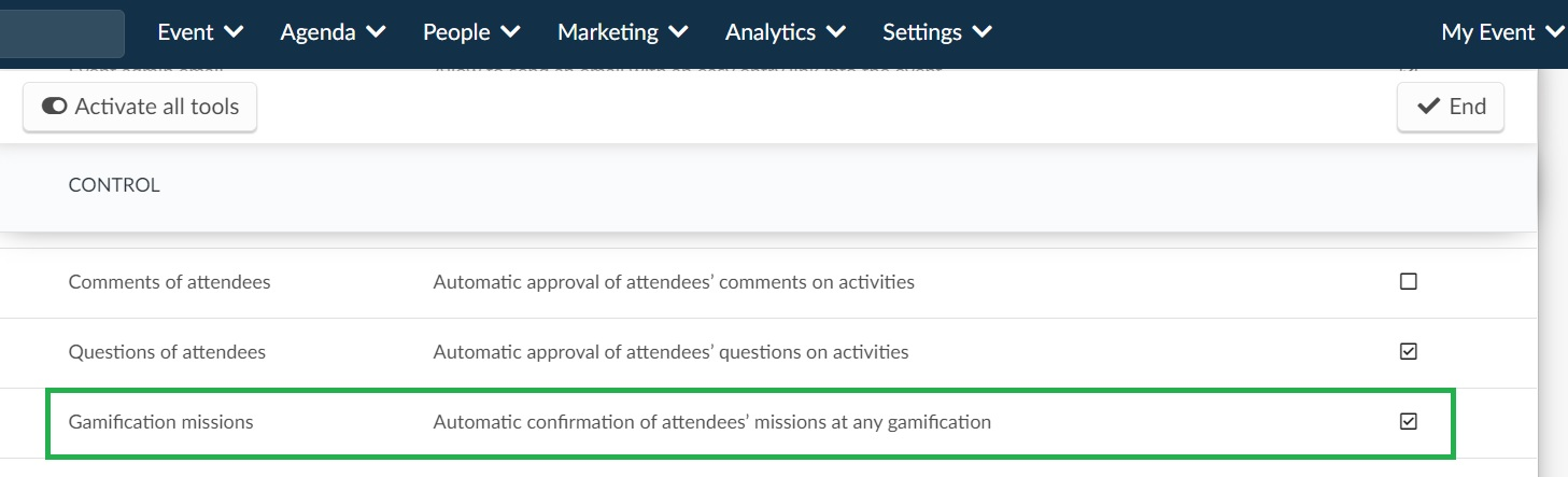 Screenshot of how to enable and disable automatical approval of missions