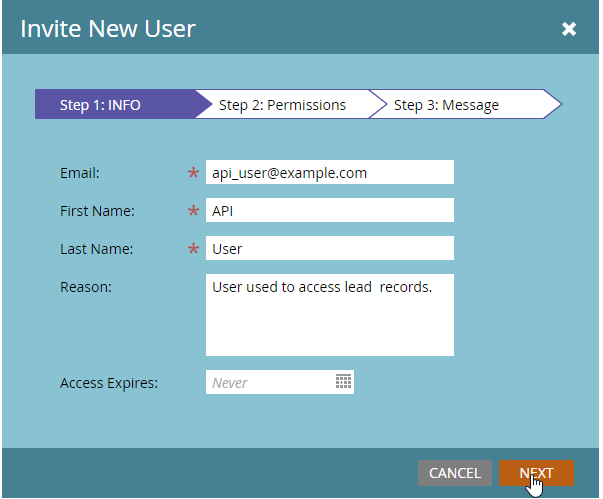 AddEmail, First name and Last name (it must be written API). Then, click onNext.