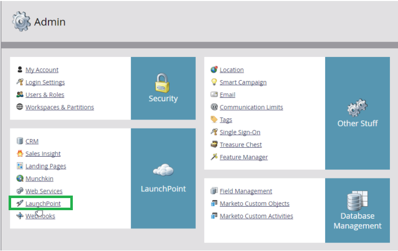Admin > Integration Launchpoint.
